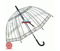 Прозрачный зонт трость Пташка